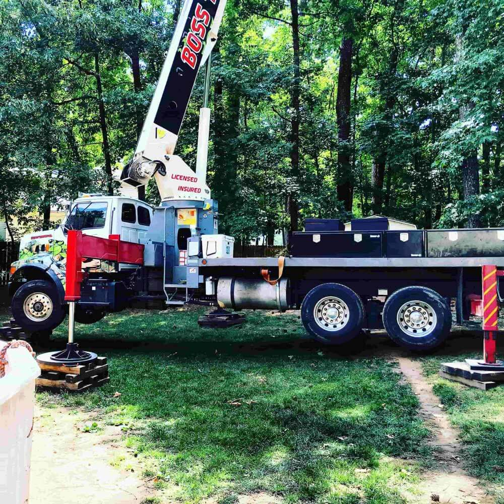 Boss Tree Service truck with crane in forest