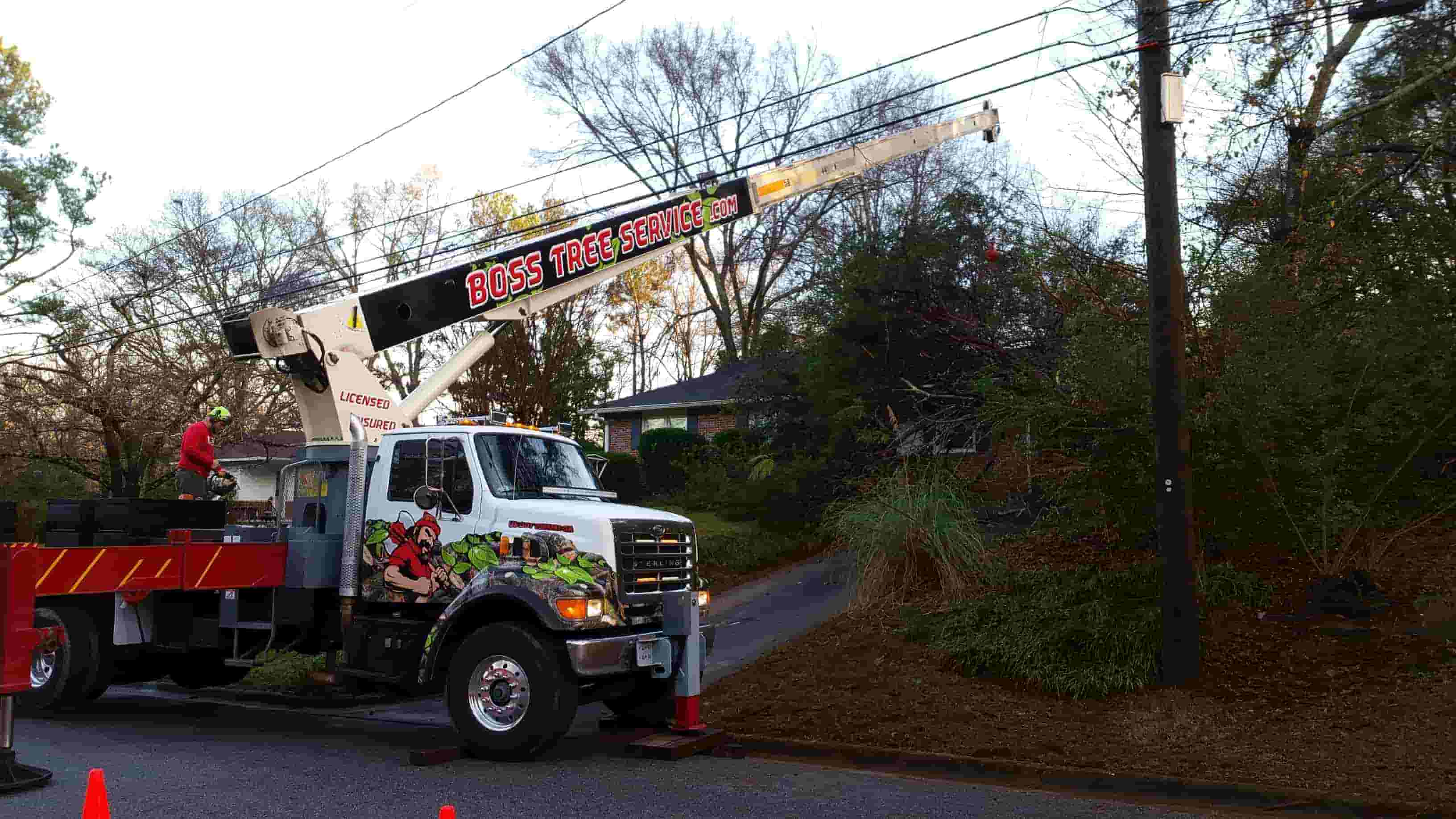Boss Tree Service truck with crane